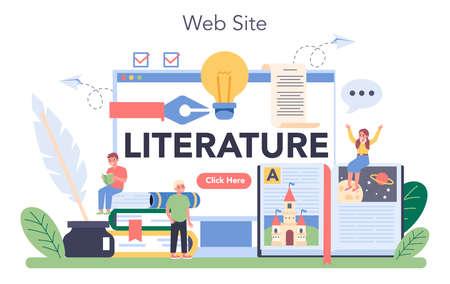 Literature school subject online service or platform. Study ancient