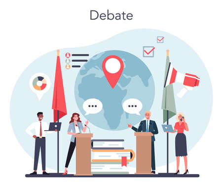 Politician concept. Political debate. Idea of election and governement Illustration