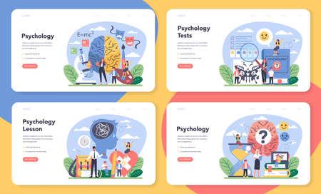 Psychology web banner or landing page set. Mental and emotional