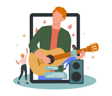 Online concert. Musician or artist making online show. Artist on device