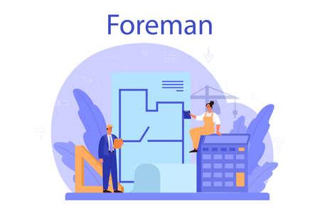 Foreman concept. Main engineer leading at construction site. Illusztráció