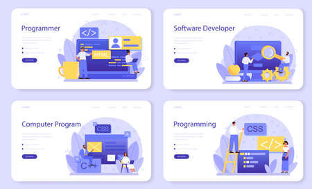 Programming web banner or landing page set. Idea of working