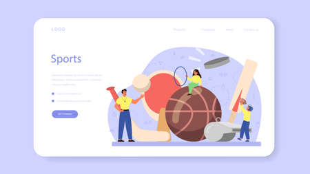 Physical education or school sport class web banner or landing page Иллюстрация