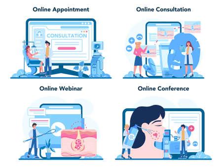 Dermatologist online service or platform set. Dermatology specialist
