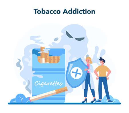 Narcologist concept. Professional medical specialist. Tobacco addiction Illusztráció