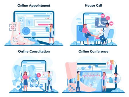 Orthopedics doctor online service or platform set. Idea of joint