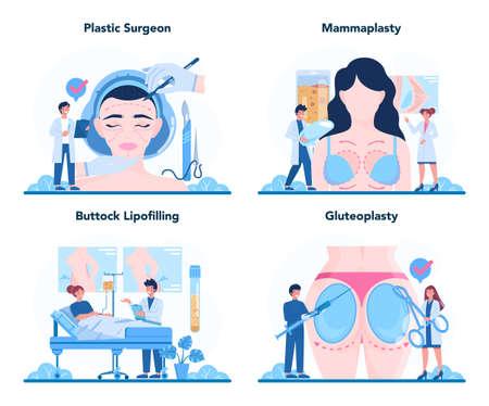 Plastic surgeon concept set. Idea of body and face correction. Vetores