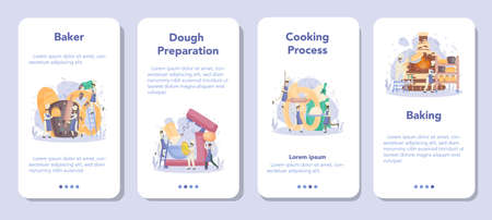 Baker and bakery mobile application banner set. Chef in the uniform