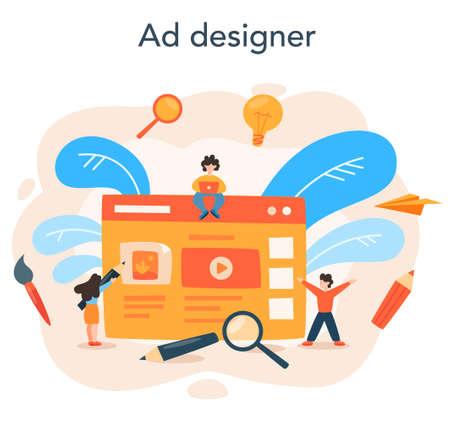Advert designer or illustrator concept set. Artist creating modern Vecteurs