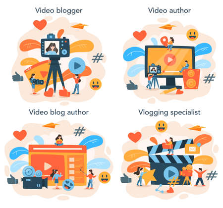Video blogger set. Share video content in the internet. Idea of social media