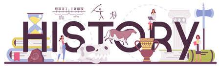 History typographic header. History science, paleontology, archeology