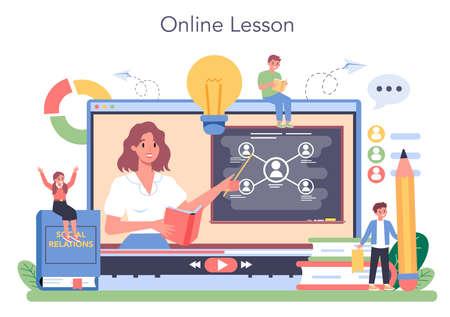 Sociology school subject online service or platform. Students Vetores