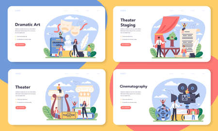 Drama class web banner or landing page set. Children creative subject