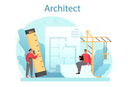 Architecture concept. Idea of building project and construction