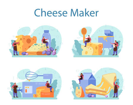 Cheese maker concept set. Professional chef making block of cheese Иллюстрация