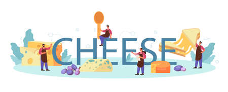 Cheese typographic header. Professional chef making block