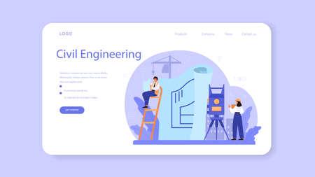Foreman web banner or landing page. Main engineer leading Ilustracja