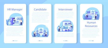 Human resources mobile application banner set. Idea of recruitment Vektorové ilustrace