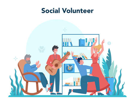 Social volunteer. Charity community support and take care