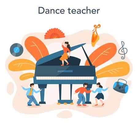 Dance teacher or choreographer in dance studio. Dancing