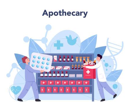 Pharmacy concept. Pharmacist holding a bag with pharmacy