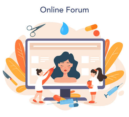 Plastic surgeon online service or platform set. Idea of body and face