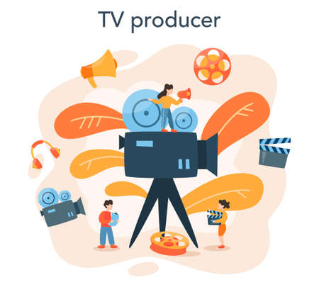 Producer concept illustration. Film and tv production. Idea