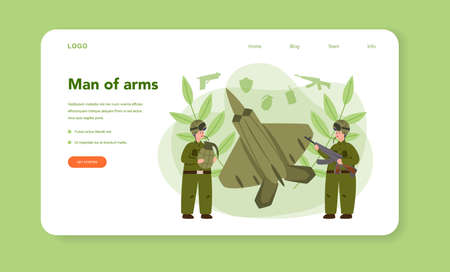 Soldier web banner or landing page. Millitary force employee