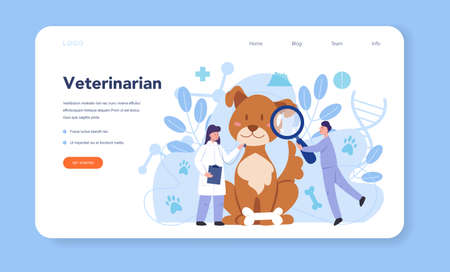 Pet veterinarian web banner or landing page. Veterinary doctor Ilustrace