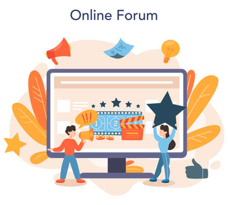 Professional critic online service or platform. Journalist making Vector Illustratie