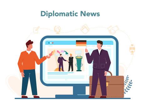 Diplomat profession online service or platform. Idea of international