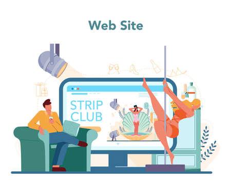 Female stripper online service or platform. Pole dancing girl