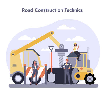 Construction and engineering industry. Road constraction technic. Illustration