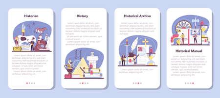Historian mobile application banner set. History science, paleontology  イラスト・ベクター素材