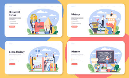 History web banner or landing page set. History school subject.