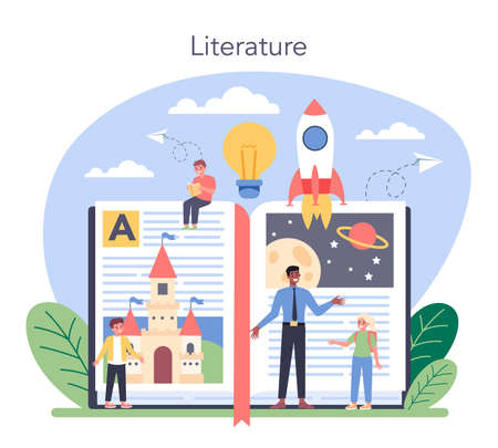 Literature school subject. Study ancient writer and modern