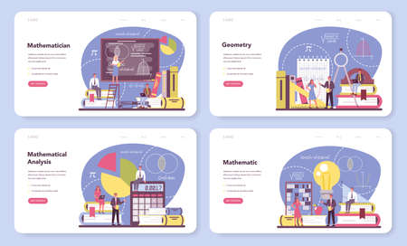 Mathematician web banner or landing page set. Mathematician seek