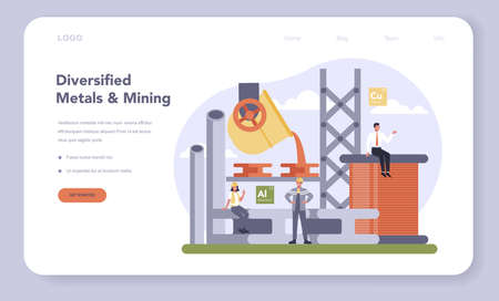 Non-ferrous metal and mining industry web banner or landing page
