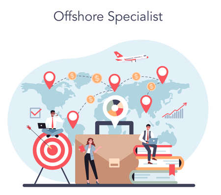 Offshore specialist or company concept. Professional businessman Illusztráció
