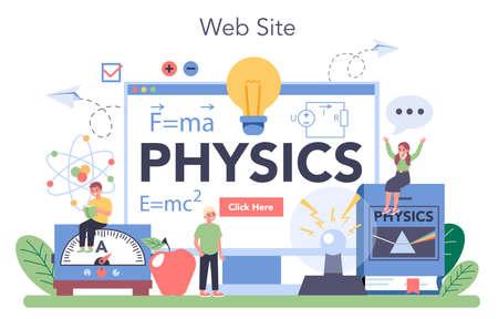 Physics school subject online service or platform. Scientist explore