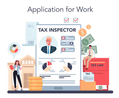 Tax inspector online service or platform. Idea of tax reporting Vector Illustration