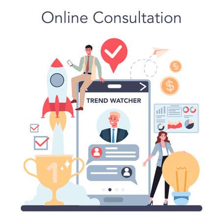 Trend watcher online service or platform. Specialist tracking Illustration