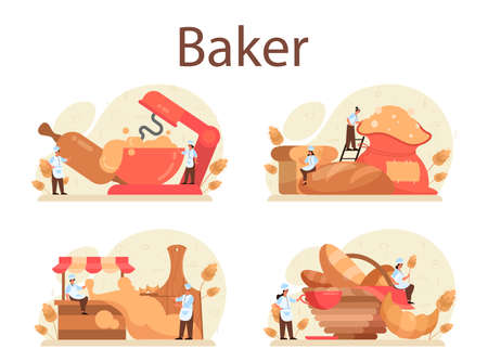 Baker concept set. Chef in the uniform baking bread. Baking pastry