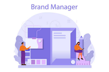 Brand manager concept. Marketing specialist create unique design Vettoriali