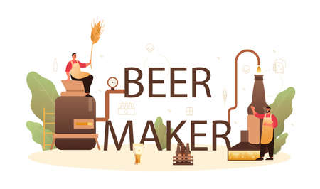 Beer maker typographic header. Craft beer production, brewing process