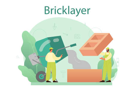 Bricklayer concept. Professional builder constructing a brick wall