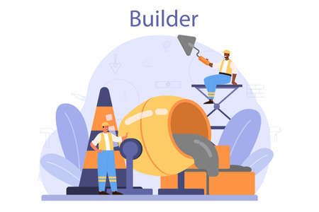 Builder concept. Professional workers constructing home with tools 일러스트