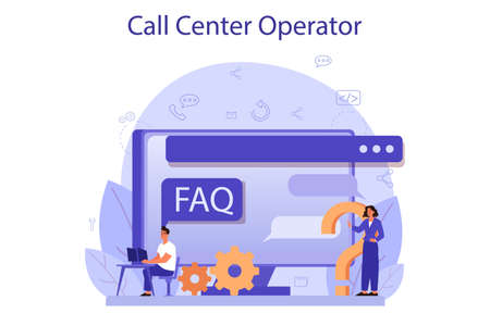 Call center or technical support concept. Idea of customer service Vettoriali
