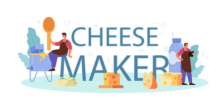 Cheese maker typographic header. Professional chef making block Иллюстрация