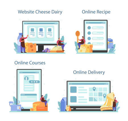 Cheese maker online service or platform set. Professional chef making